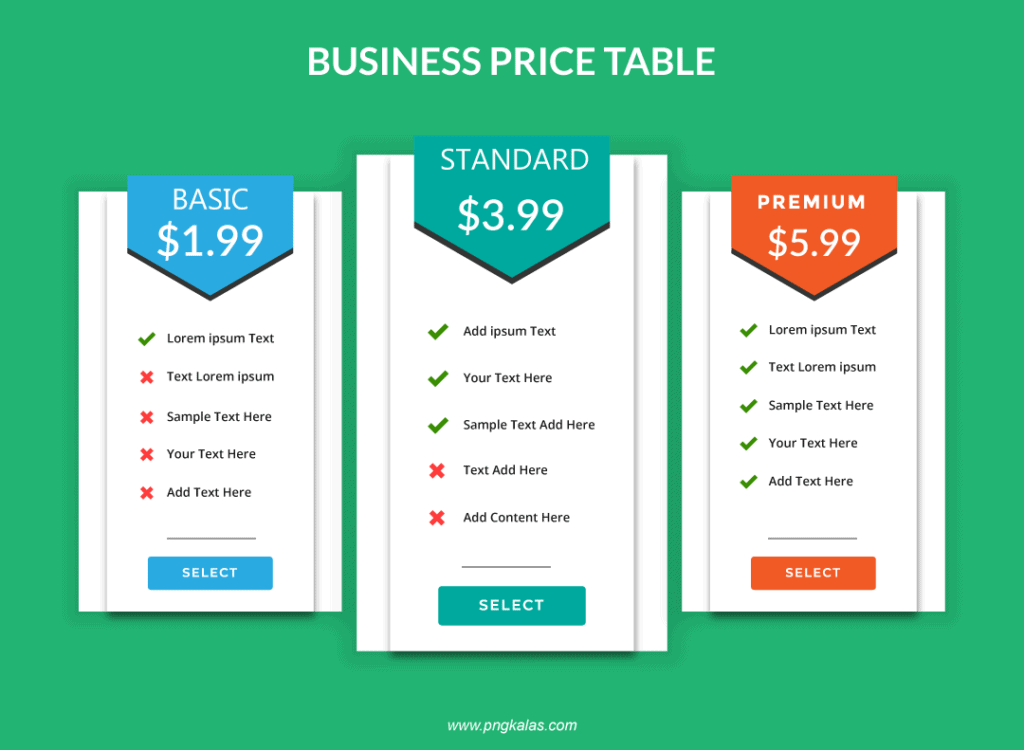 business price table template