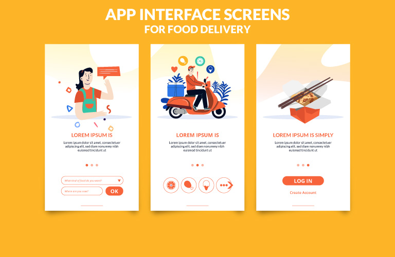 App Interface Screens Food Delivery