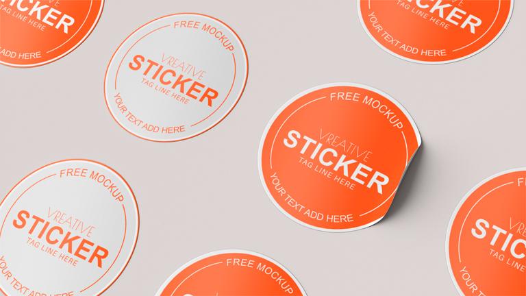 Free Sticker Mockup Template