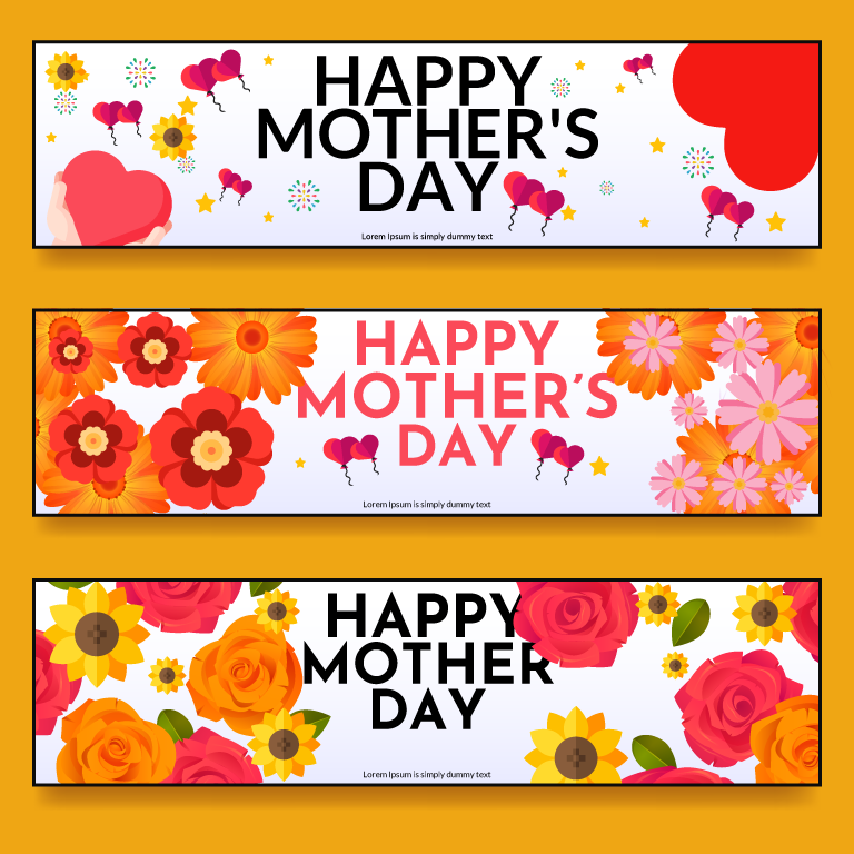 Flat Mothers Day Banner Set