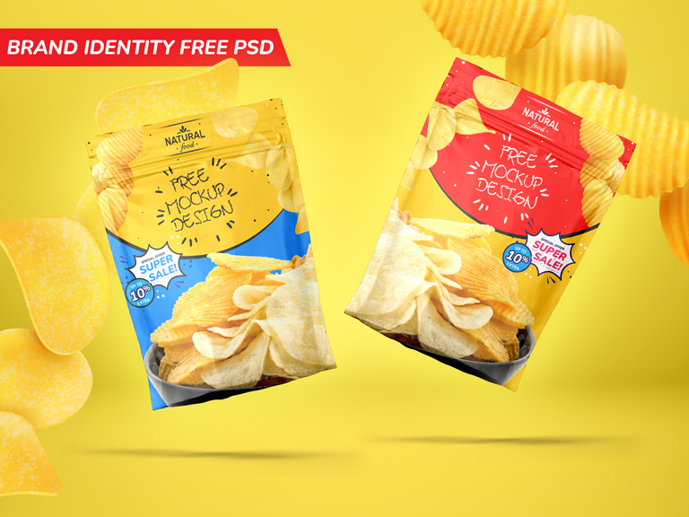 Foil Pouch Bag Packaging Brand Identity Free PSD