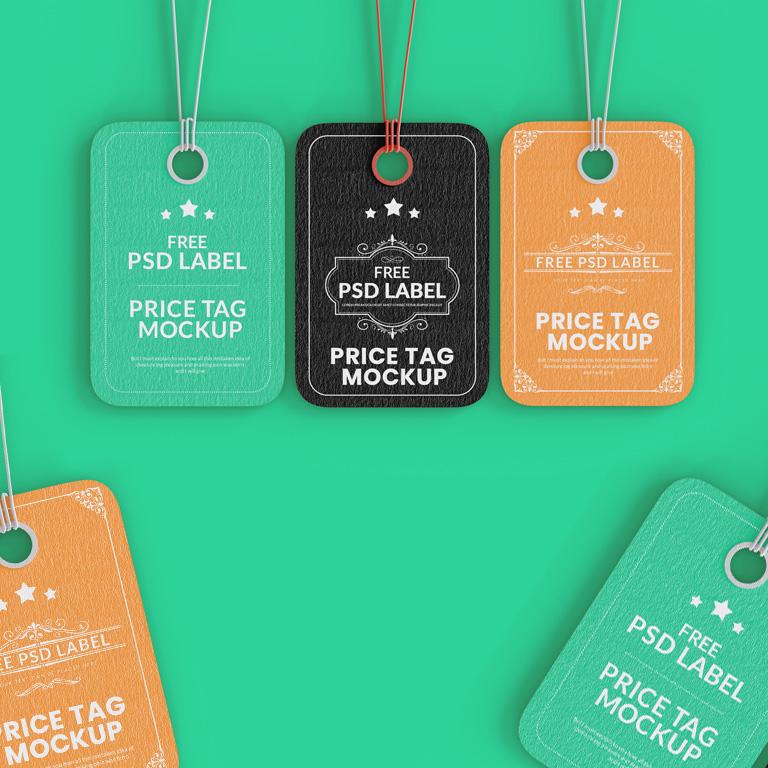 Free PSD Label Price Tag Mockup