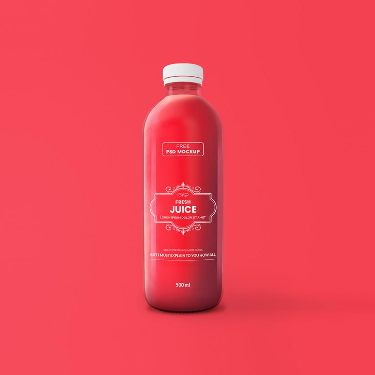 Juice Glass Bottle Mockup Free PSD