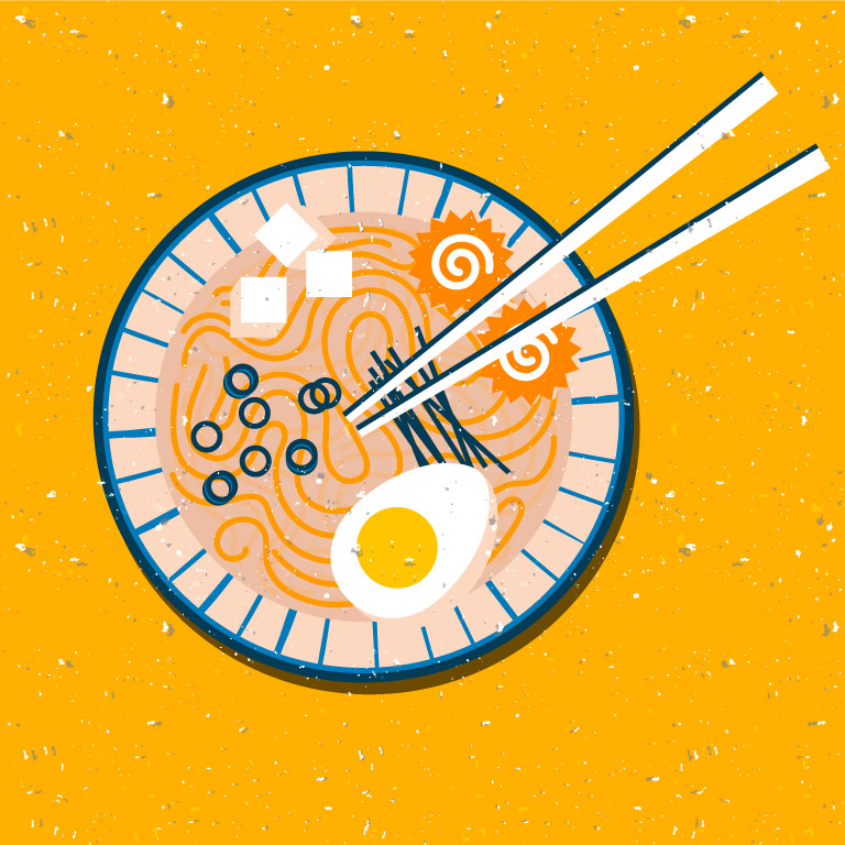 Noodles Bowl Vector Design