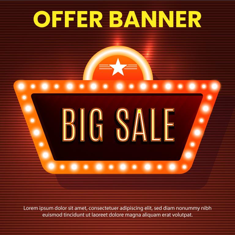 Promotional Concept Big Sale Free Vector Illustration