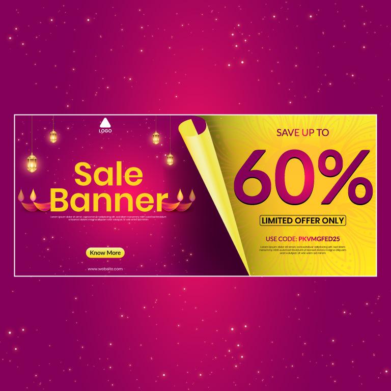 Diwali Sale Banner Design Template Free Vector