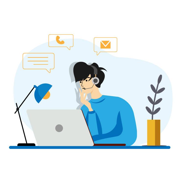 Man Working on Laptop Cartoon Illustration