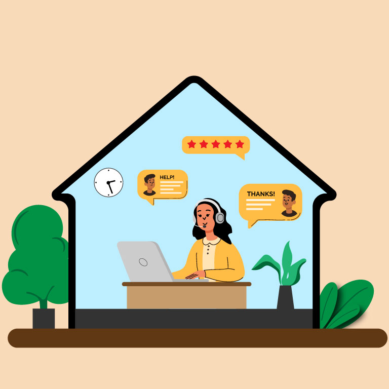 Working From Home Concept Free Vector