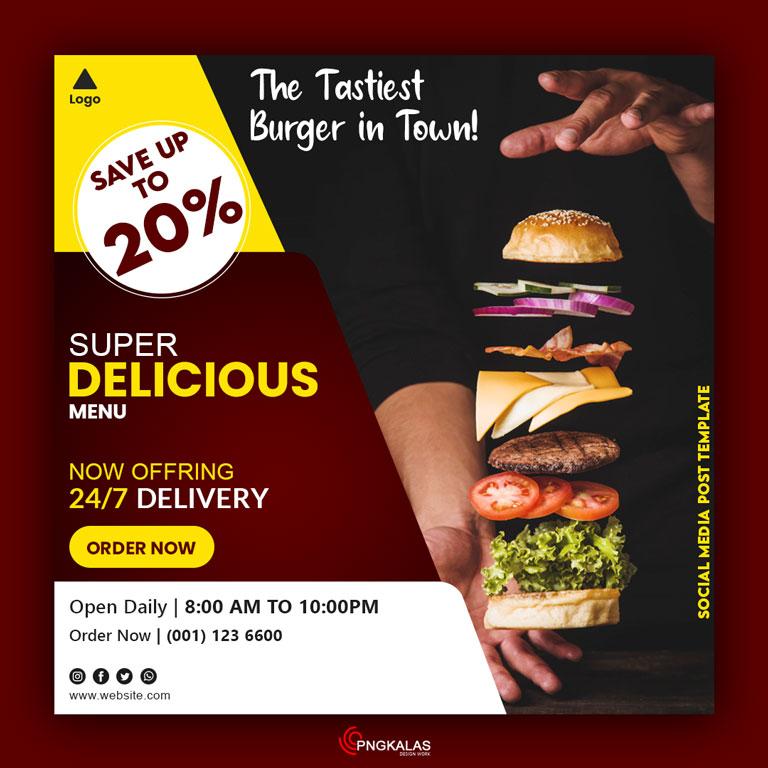 Burger Social Media Post Template