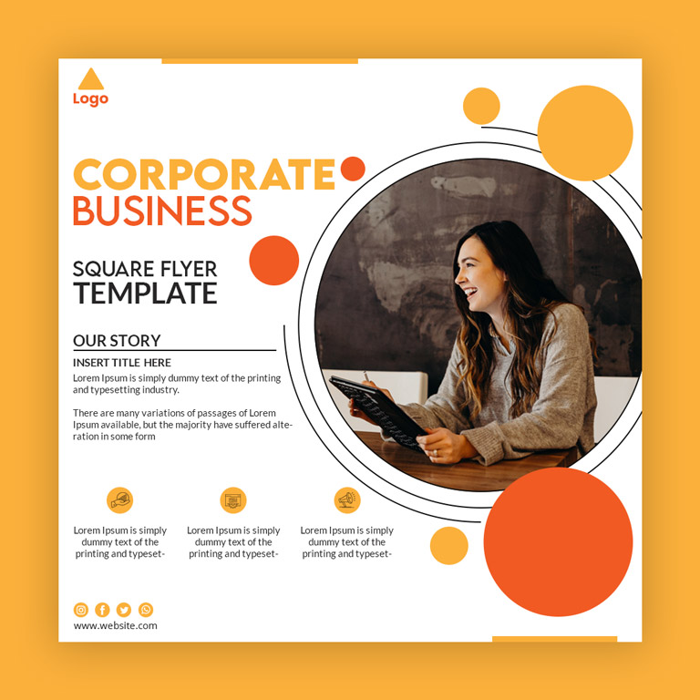 Corporate Business Square Flyer Template