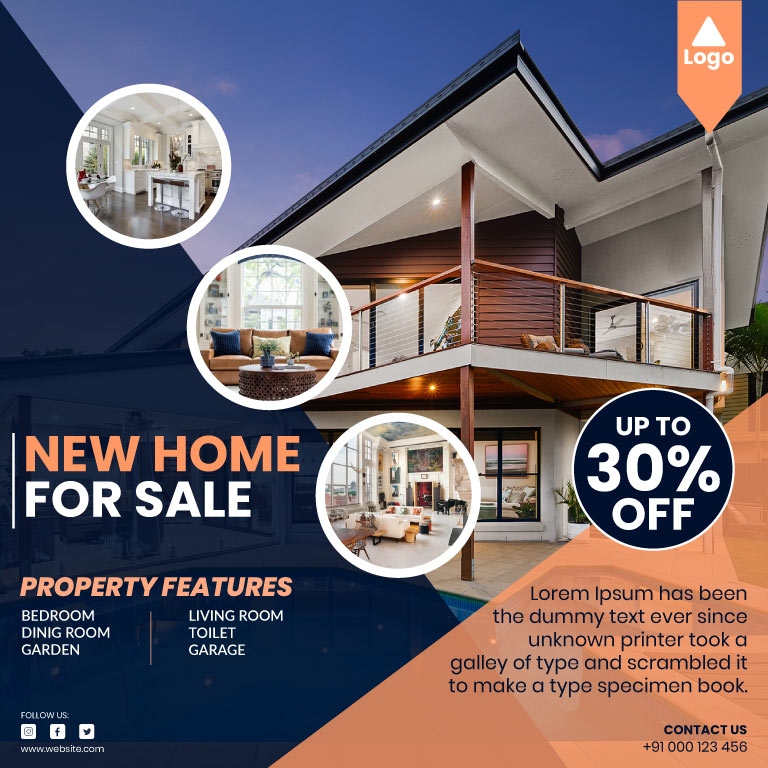 House for Sale Free Vector Template