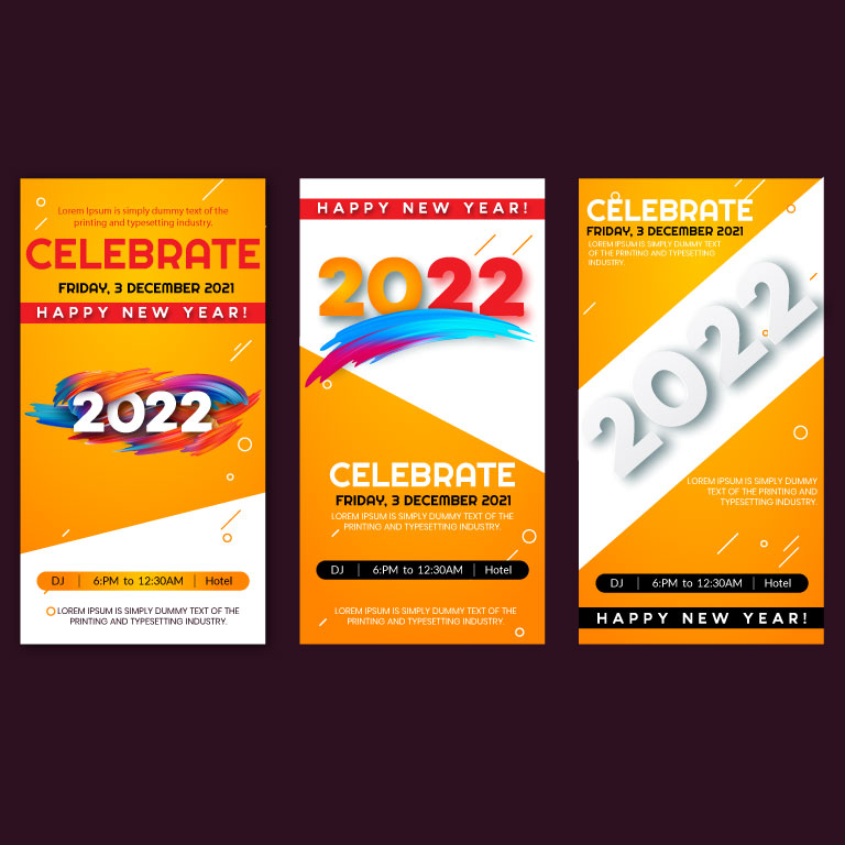 Happy New Year 2022 Vertical Banners